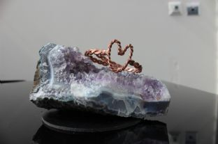 Tensor Ring Love Heart Pendant Polished Pure Copper EMF Orgone 1/2 Sacred Cubit